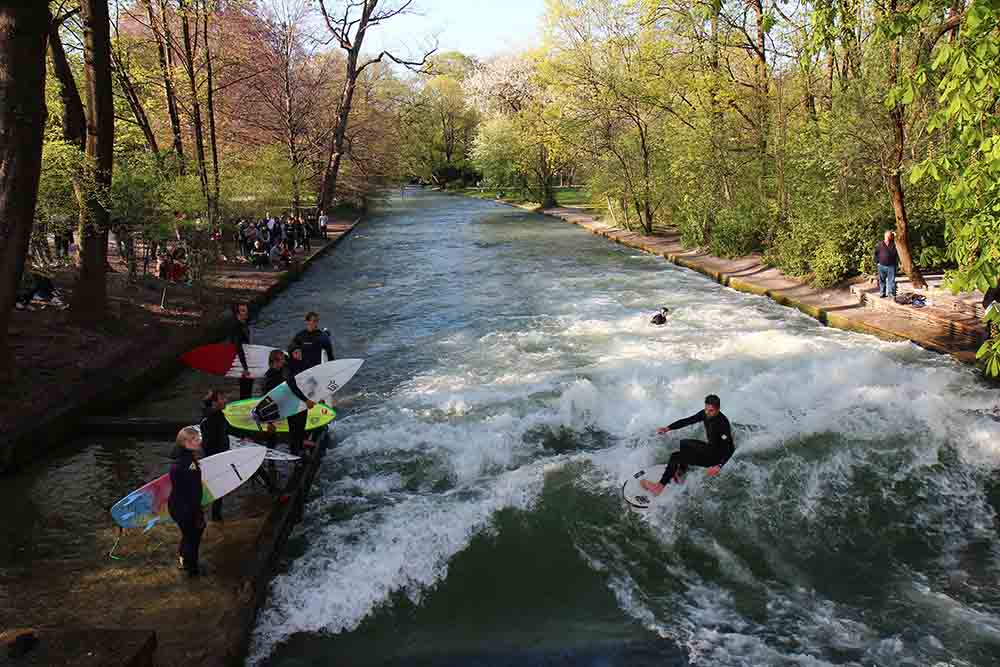 Get active while river surfing at the Eisbach